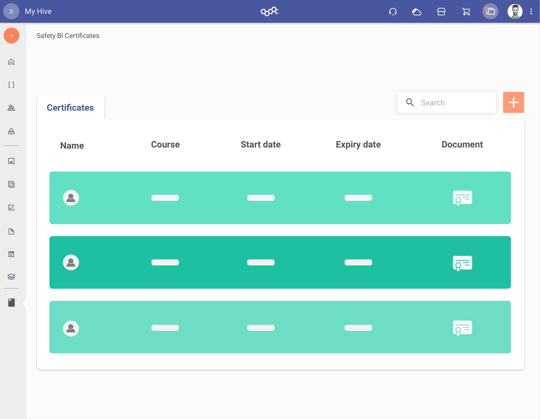 Verifica gli attestati previsti dal piano formativo per ogni utente