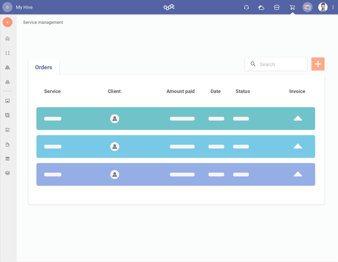 Grafica della piattaforma in cui sono rappresentati gli ordini
